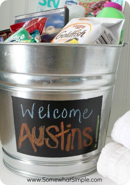 welcome guests bucket for guest bedrooms!
