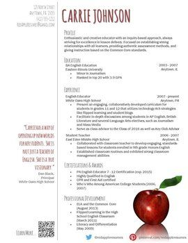 Creative Teacher Resume Reflection Template Job Search