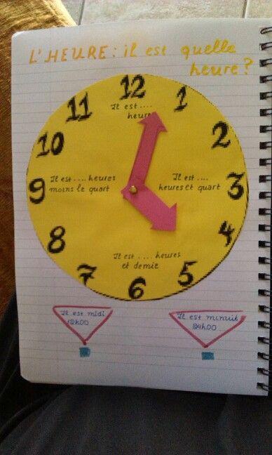 L'heure / FLE /le cahier interactif de mme Marie