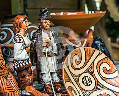 Romanian traditional objects on sale in Vaslui city