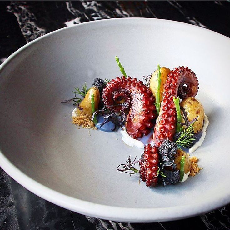 """238 Likes, 3 Comments - Linking the Culinary World (@cookniche) on Instagram: """"""""The Kraken"""" Grilled Octopus, Cabbage, Sea Asparagus, Fingerling, Pine Nut & Creme Fraîche by Chef…"""""""