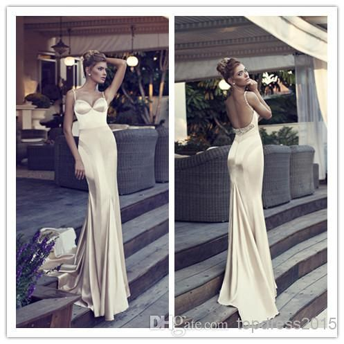 2014 Luxury Champagne New Arrival Mermaid Evening Dresses Gowns Stain Spaghetti Strap Sleeveless Backless Beads Formal Prom Gown Dress GM107