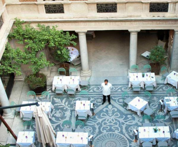When in Milan, refuel yourself after shopping with a traditional Italian lunch or dinner in this stunning courtyard!