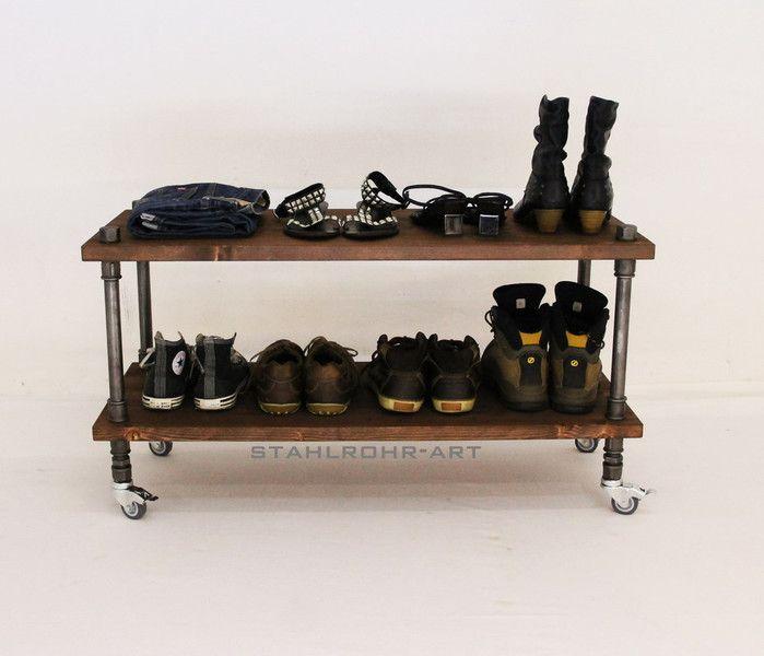 Industriedesign Schuhregal Metall Vintage Loft  von stahlrohr-art auf DaWanda.com