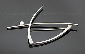 Betty Cooke Modernist Sterling Silver and Pearl Brooch
