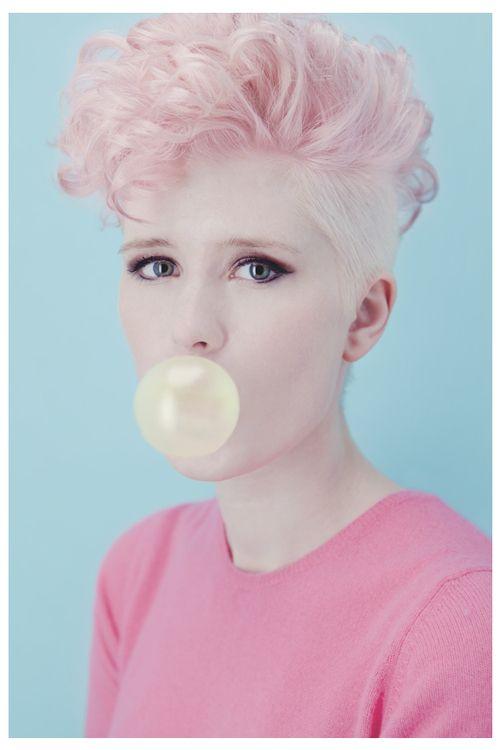 pastel mohawk #pastel #pink #mohawk #curly #bubblegum #grunge