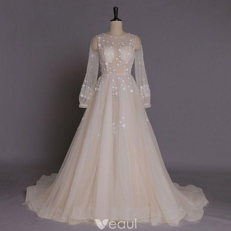Lyx Handgjort Champagne Bröllopsklänningar 2017 Prinsessa Urringning Långärmad Beading Tyll Chapel Train
