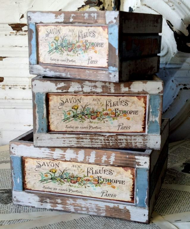 Flower Market Crates Wood French ( Set of Three)