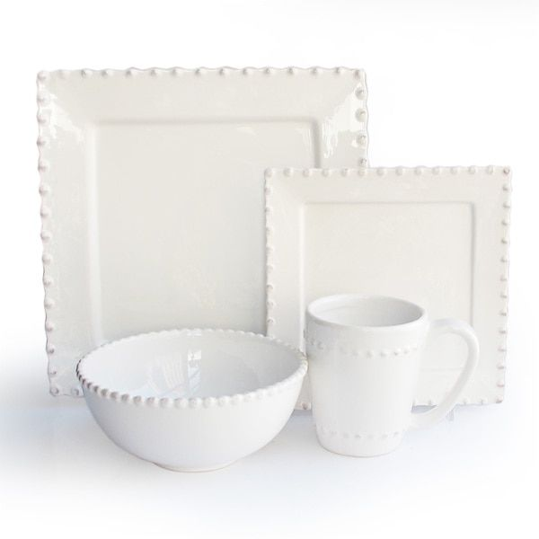 American Atelier Bianca Bead White Square 16 Piece Dinnerware Set - The American Atelier Bianca Bead White Square 16 Piece Dinnerware Set includes salad ...  sc 1 st  Pinterest : carynthum square dinnerware - pezcame.com