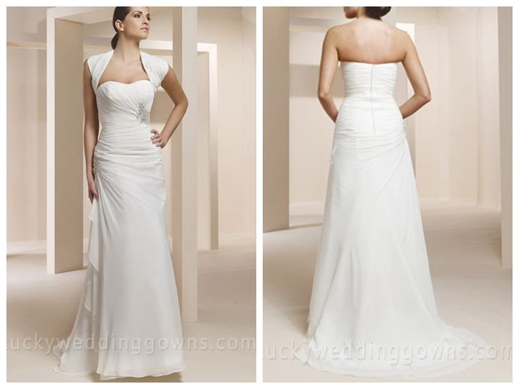 TWO-PIECE SWEETHEART STRAPLESS CREPE CHIFFON MERMAID BRIDAL DRESS