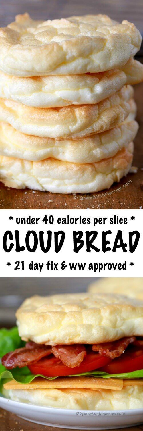 Cloud Bread is an easy to make, light and fluffy bread substitute. These are low carb, under 40 calories each and the perfect way to lighten up a sandwich! Perfect for Weight Watchers and 21 Day Fix approved!: