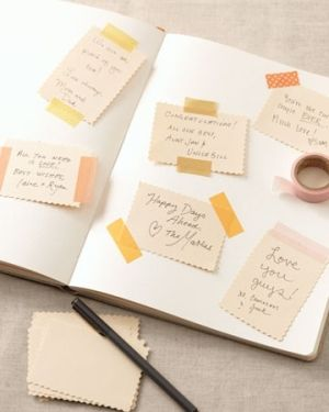 guestbook idea: washi tape, pre-cut cards and a plain journal by angelia