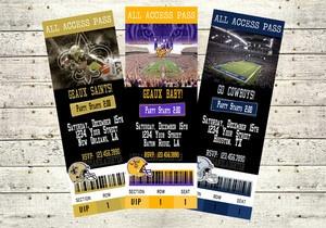 Any Team Football Ticket Birthday Invitation Digital File 5x7 Baby Bridal Shower | eBay LSU Tigers Cowboys Razorbacks Alabama Gators Saints Giants Eagles Ravens