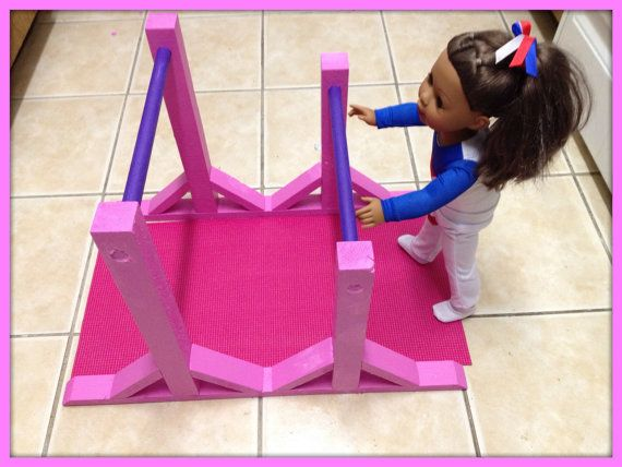 """Gymnastics Uneven Bar and Mat Set for McKenna, American Girl, 18"""" Inch Doll"""