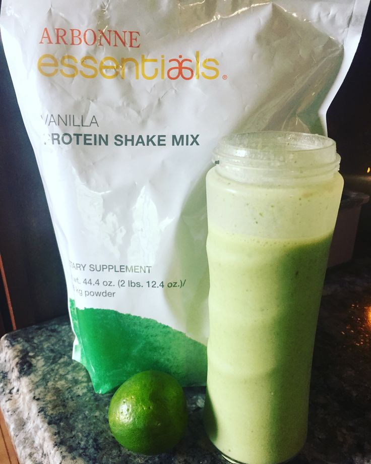Key Lime Pie Protein Shake!! 2 scoops of Arbonne's Vanilla Protein Powder, 1 scoop of Arbonne's Fiber Boost, 1 Arbonne Digestion Plus packet, 1 small banana, 1 cup of spinach, zest of one lime, juice of half of a lime, almond milk and ice!! Tastes exactly like key lime pie!