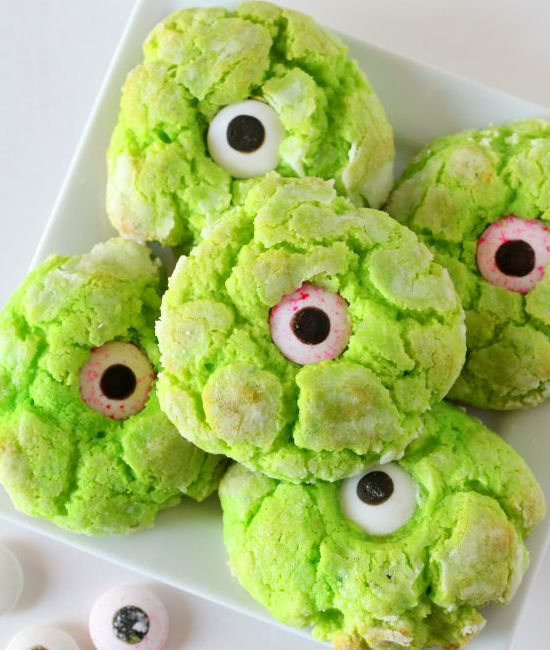 Gooey Monster Eye Cookies -  These Gooey Butter cookies will be a hit at your Halloween party. - Click Pic for Recipe -  #halloween #treats #for #kids