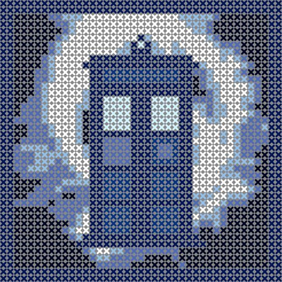 Tardis in vortex, cross stitch pattern, would be great as an ornament or in Hama Perler Beads. Free pattern. Doctor Who xstitch: