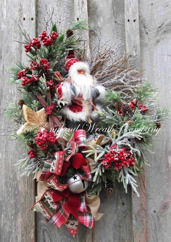 Santa Clause Santa Christmas Wreath Santa Star Wreath Whimsical Wreath Christmas Wreath Christmas Star Wreath Frosted Wreath