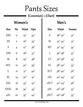 Men and women can determine their pants sizes by their measurements in the waist, hips, and inseam with this clothing conversion chart. Free to download and print