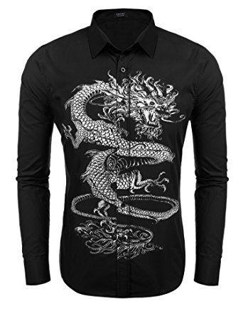d15f4ce1f855 COOFANDY Mens Dragon Print Fashion Shirt Slim Fit Button Down Dress Shirts  Review
