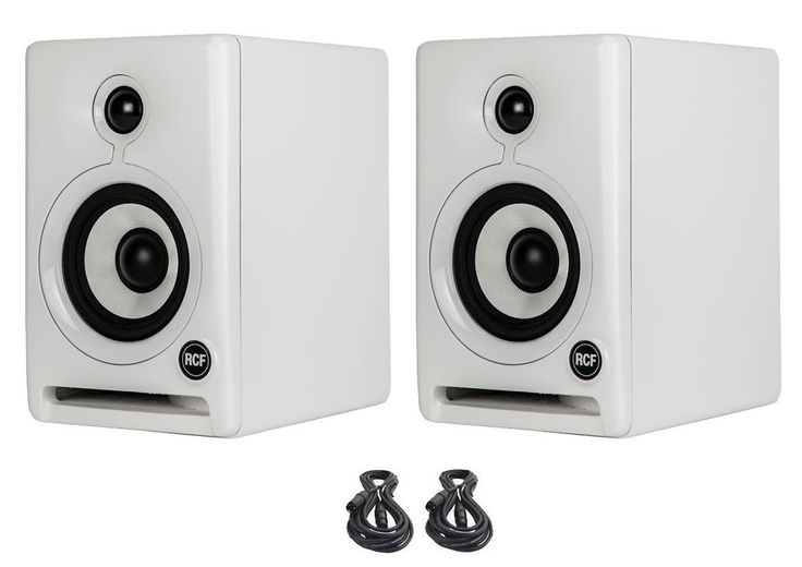 2X RCF Ayra-4 Active 2-Way Powered Monitor Speakers (White) & 2X XLR Cables 20FT #RCF