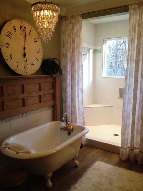 Image of Fancy Small Bathroom Designs with Clawfoot Tub for White Freestanding Bathtubs Including Polished Nickel Pull Down Faucet and White Sheer Patterned Curtains Alongside Large Round Wall Clock with White Bathroom Vanity Ideas Decorating Small Bathrooms Ideas Bathtubs for Small Bathrooms Country Style Bathroom Design Ideas Modern Bathroom Wall Cabinets