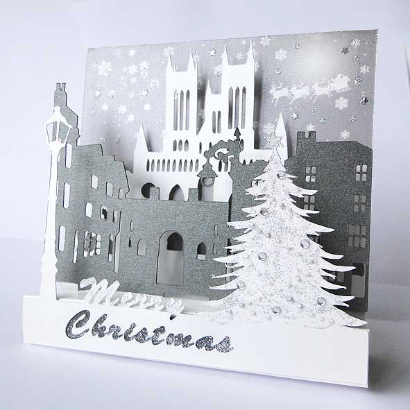 Pop Up Lincoln Scene Luxury Christmas Card, Unique Greeting Cards Online, Buy Luxury Handmade Cards, Unusual Cute Birthday Cards and Quality Christmas Cards by Paradis Terrestre