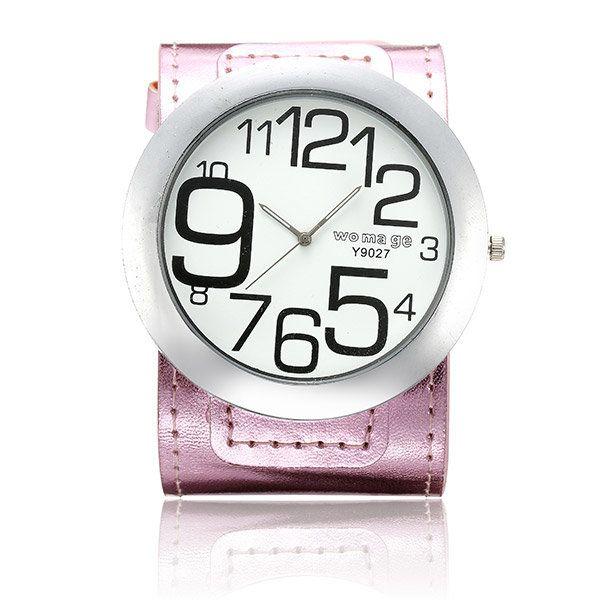 WOMAGE Women Big Number Big Dial PU Leather Quartz Watch at Banggood