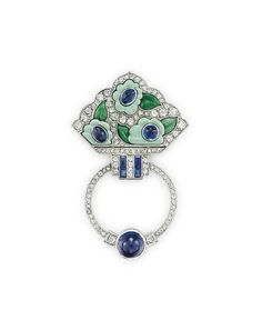 AN ART DECO DIAMOND, JADEITE, BY VAN CLEEF & ARPELS CIRCA 1925.
