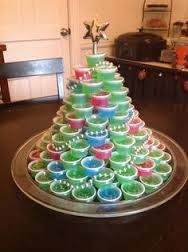 AWESOME --- Jell-O Shot Christmas Tree!  How many of my friends would love this Christmas Tree. LOL