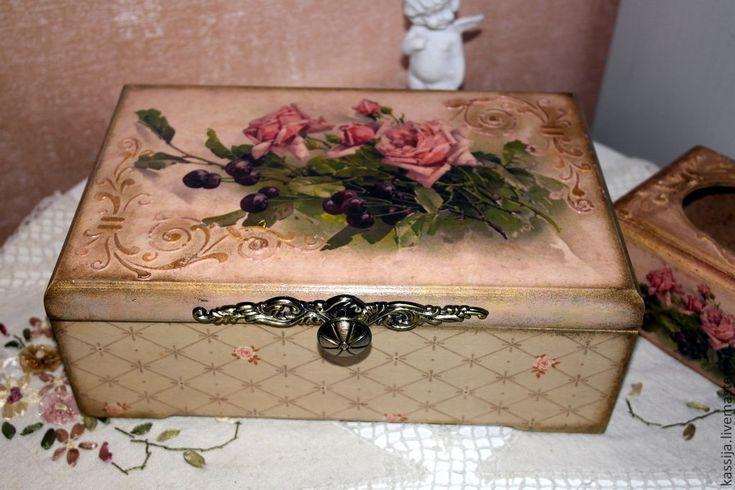 """Купить Набор для кухни """"Роза и вишня"""" - бледно-розовый, набор для кухни, розы, розовый"""
