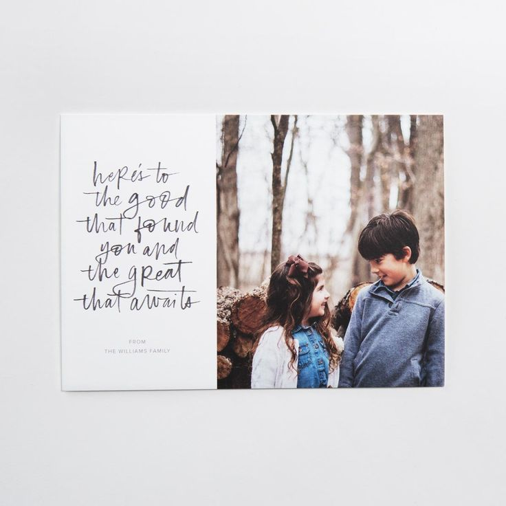 This 7x5 flat card is printed on premium quality 100% recycled paper. Customize the design with your favorite photo and a personalized greeting.