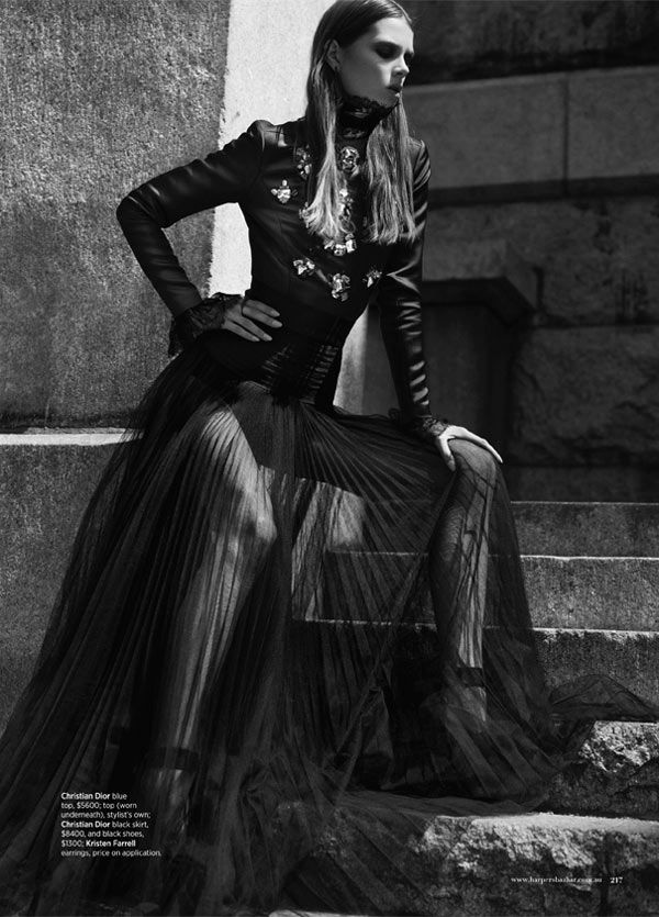 Caroline Brasch Nielsen Embraces the Dark Side for Harpers Bazaar Australia by Benny Horne