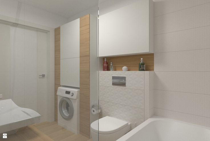 Łazienka - zabudowa meblowa nad pralką i wc - zdjęcie od ML Projekt - Łazienka - Styl Skandynawski - ML Projekt