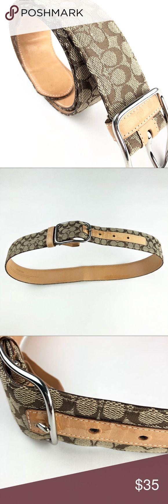 "Coach Belt Genuine Leather Trim Monogram Canvas Coach Belt Women's Small Brown Jacquard Genuine Leather Trim Monogram Canvas  Measures 33"" Long and 1.5"" wide Coach Accessories Belts"