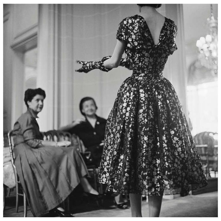 Mark Shaw Editioned Photograph-House of Dior-Model in Metallic Dress-Back, 1953   1stdibs.com
