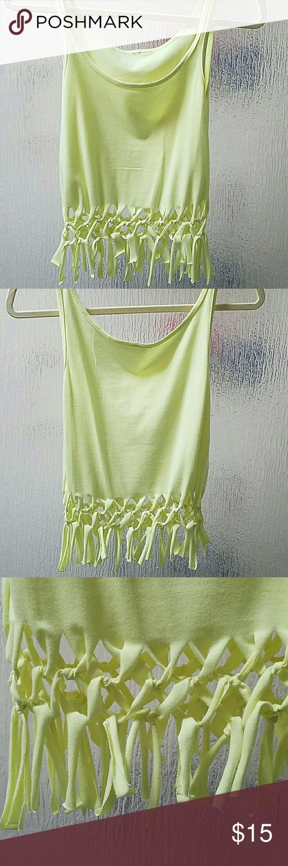 Homemade Crop Tank Top Perfect as a beach cover up or for music festivals, fitted tank top, shows midriff. Small available in Neon Yellow, Large in Bright Pink, XL in Aqua Merona Tops Crop Tops