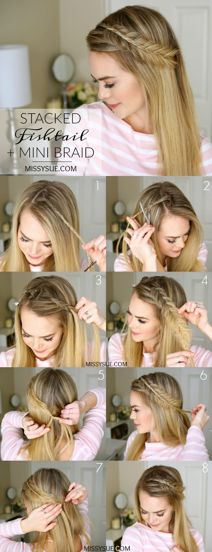 Stacked fishtail mini braid hairstyle tutorial / how to