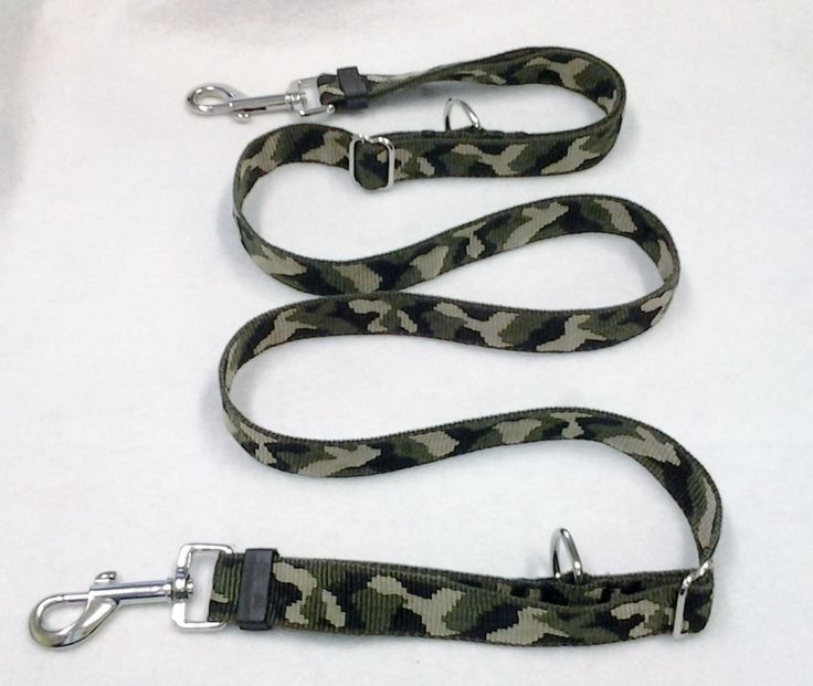 DOG LEAD - DOUBLE ENDED - 25MM CAMO WEB X 3 LENGTHS -WITH  MEDIUM CLIPS