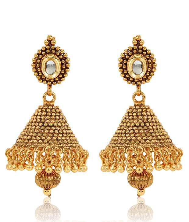 Jewels Galaxy 18Kt Gold Plated Kundan Jhumka, http://www.snapdeal.com/product/jewels-galaxy-18kt-gold-plated/2056954150