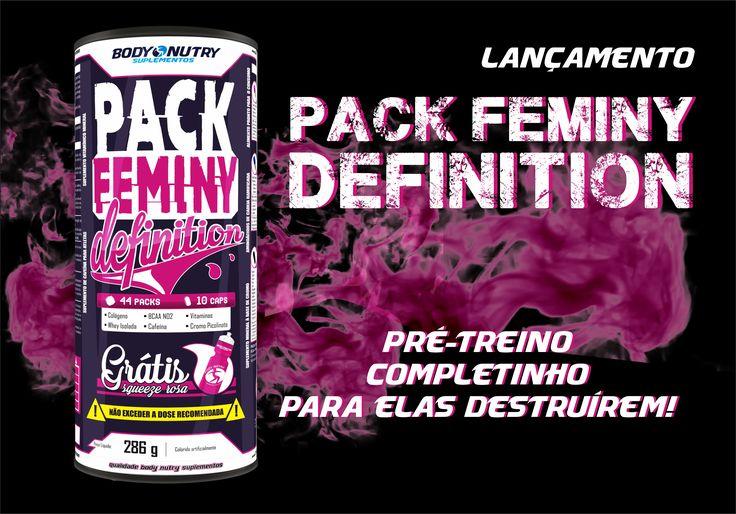 LANÇAMENTO!✨ PACK FEMINY DEFINITION PRÉ-TREINO COMPLETINHO PARA ELAS DESTRUÍREM. 💪 Produto contém 44 pack. Cada pack contém 10 cápsulas: 👉 Colágeno✨ 👉 Cafeína🔥 👉 Cromo Picolinato 👉 Multivitamínico mineral 👉 BCAA vasodilatador💢 👉 Proteína Isolada 👉 Antioxidante MULHER TAMBÉM É HARDCORE!!! 💪