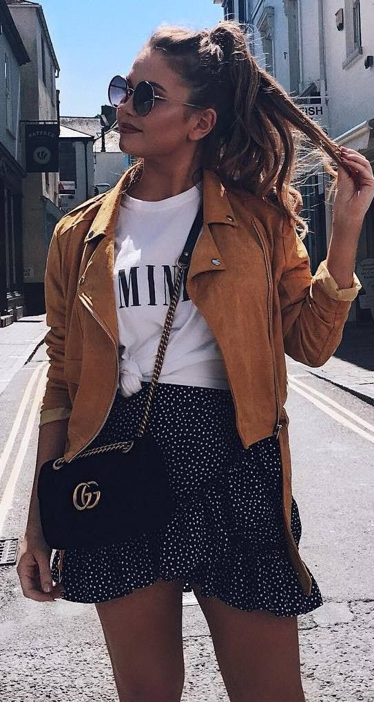 trendy outfit idea : moto jacket   bag   printed top   skirt