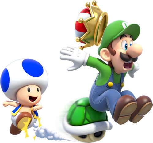 A Blue Toad smashes Luigi to bits from behind, knocking his crown off.  from the official artwork set for #SuperMario3DWorld on #WiiU. #Mario #SuperMario http://www.superluigibros.com/super-mario-3d-world