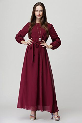 Fiona World Womens Plus size Round Neck Bell Sleeve Self Tie Waist Burgundy Chiffon Dress Fiona World http://www.amazon.com/dp/B016U4NJNE/ref=cm_sw_r_pi_dp_VtFjwb0HMYFYD