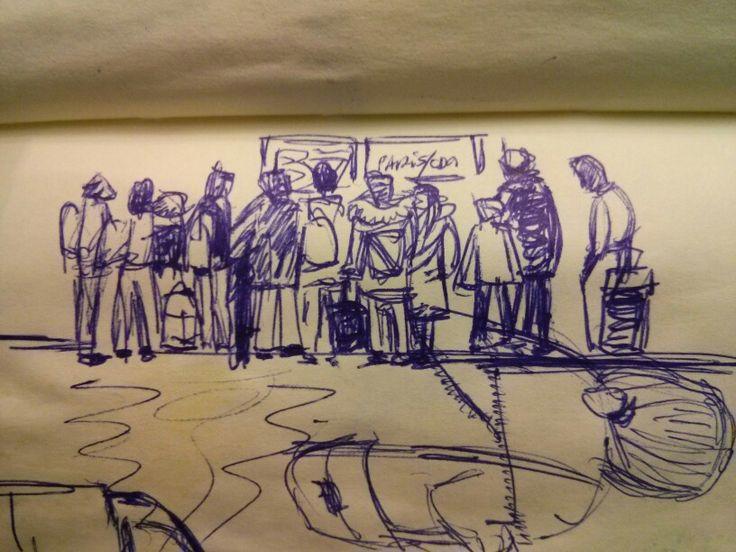 Dibujo rápido en el aeropuerto. Haciendo cola. Bcn.