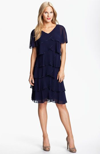 Patra Beaded Edge Layered Chiffon Dress available at #Nordstrom