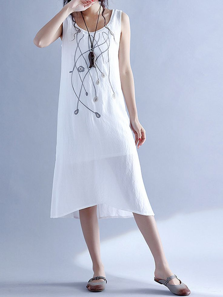 Embroidery Sleeveless O Neck Side Slit Women Dresses