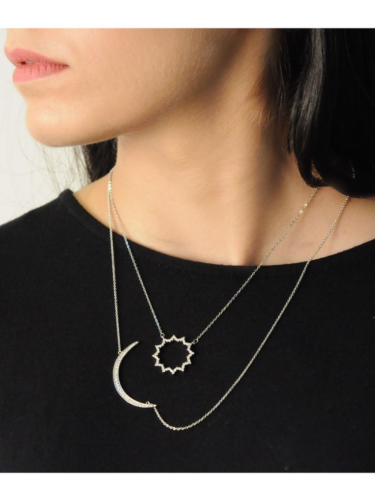 Solis Necklace in Silver -  INR 2,399 - This delicate piece features a delicate micro pavé pendent held on silver link chain. The piece is great for layering or to wear on its own, it features a premium finish and is ideal for everyday wear. To ensure your jewellery stays looking new for longer, avoid contact with liquids and perfume.