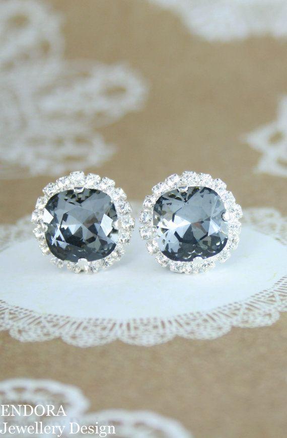 Gray crystal earrings,grey crystal earrings,crystal earrings,gray wedding,bridal earrings,bridesmaid earrings,swarovski,silver night,grey