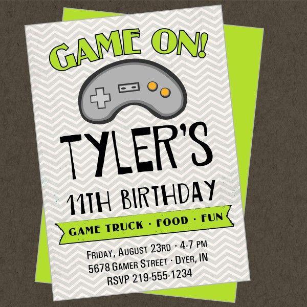 Game Truck Printable Invitation Video Gamer